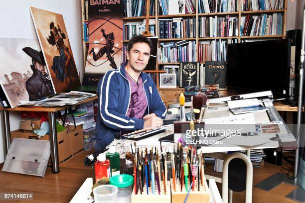 the cartoonist Enrico Marini is photographed for Paris Match in his studio on october 25 2017 in Bale Switzerland
