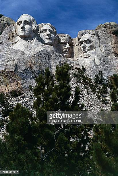 The carved sculptures depicting the faces of US Presidents George Washington and Thomas Jefferson National monument Mount Rushmore South Dakota...