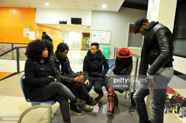 The case of Theo Luhaka victim of police violence in AulnaySousbois at the Hospital in Aulnaysousbois on February 11 2017 his family waiting for news...