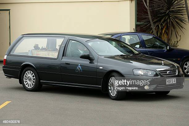 The casket arrives in a hearse during the funeral service for Alex Fisher at Salvation Army on October 13 2015 in Levin New Zealand Alex was found...