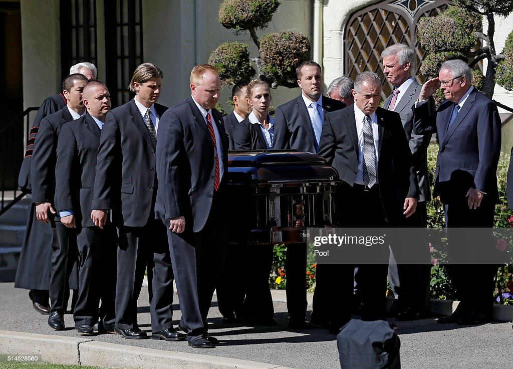 The casket carrying the former first lady Nancy Reagan leaves a small ceremony at a mortuary March 9 2016 in Santa Monica California The former first...
