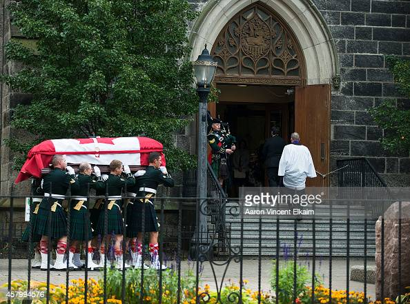 The casket of Cpl Nathan Cirillo is carried into The Christ's Church Cathedral during his funeral on October 28 2014 in Hamilton Ontario Canada Cpl...