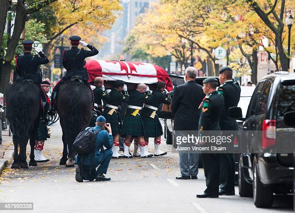 The casket of Cpl Nathan Cirillo is placed in a hearse at Christ's Church Cathedral during his funeral on October 28 2014 in Hamilton Ontario Canada...