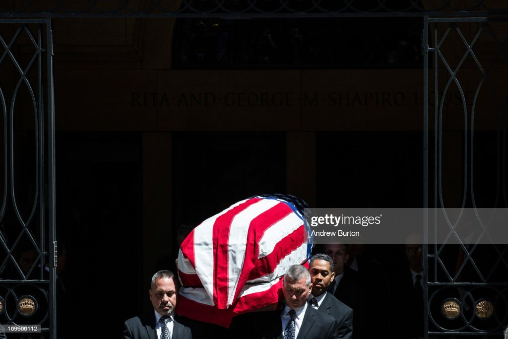 The casket of deceased New Jersey Senator <a gi-track='captionPersonalityLinkClicked' href=/galleries/search?phrase=Frank+Lautenberg&family=editorial&specificpeople=240397 ng-click='$event.stopPropagation()'>Frank Lautenberg</a> is carried out of the Park Avenue Synagogue after his funeral on June 5, 2013 in New York City. Lautenberg, who died while serving his 5th term, was 89 years old.