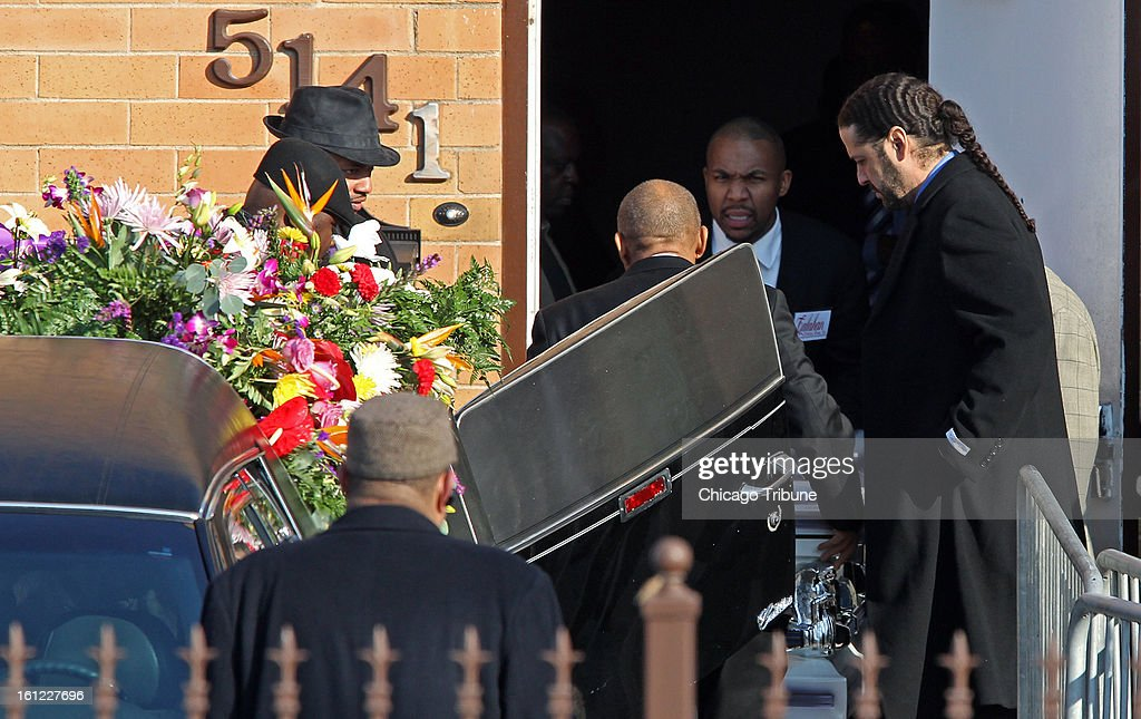 The casket of Hadiya Pendleton is moved into a hearse at the Greater Harvest Missionary Baptist Church following the funeral service on Saturday, February 9, 2013, in Chicago, Illinois. Pendleton, who performed at President Obama's inauguration, was killed January 29 when a gunman fired on a group of students.
