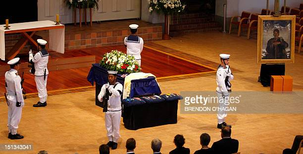 The casket of Sir Edmund Hillary the first person to climb Mount Everest is seen at the Auckland Cathedral of the Holy Trinity in Parnell 21 January...