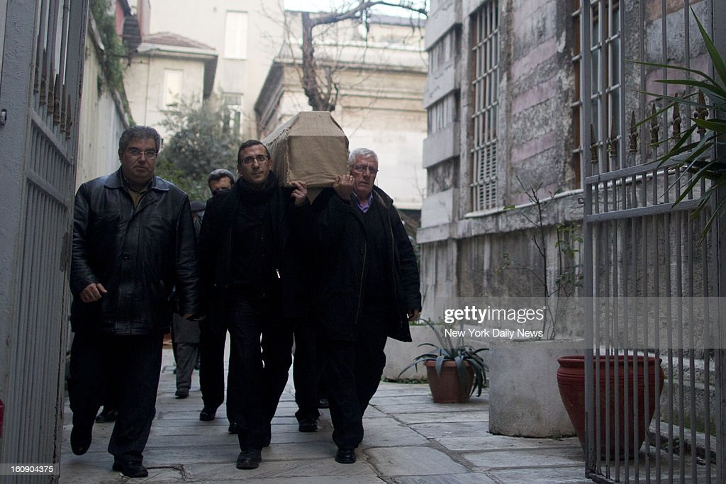 The casket of Staten Island mom Sarai Sierra is carried through Galatasaray, a neighborhood in Istanbul to a hearse that will take the body back to New York.