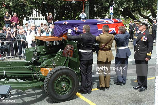 The casket of the unknown soldier is placed on a gun carriage after a funeral service at the Wellington Cathedral of St Paul before interment at the...