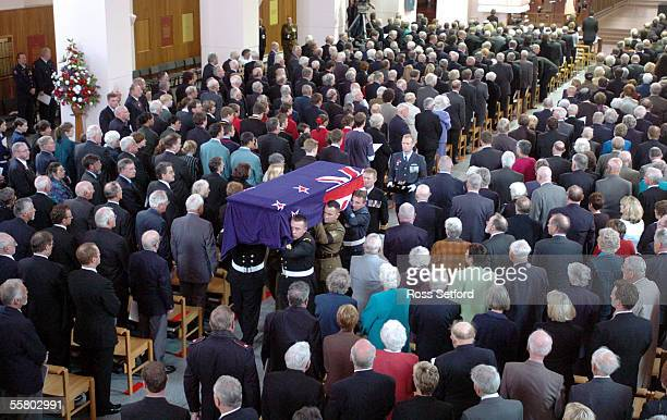 The casket of the unknown warrior is carried from Wellington Cathedral of St Paul following the funeral service before interment at the National War...