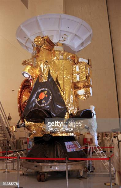 The Cassini spacecraft is prepared 22 August 1997 in the Payload Hazardous Servicing Facility at Kennedy Space Center FL for its planned 06 October...