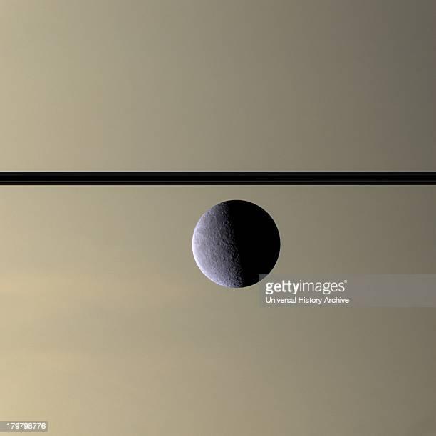 The Cassini spacecraft looks toward Rhea Saturn's secondlargest moon