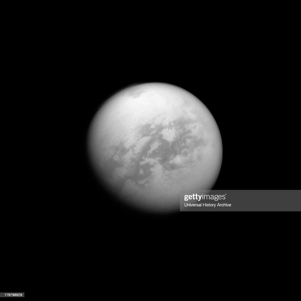 The Cassini spacecraft looks toward Saturn's largest moon Titan and spies the huge Kraken Mare in the moon's north