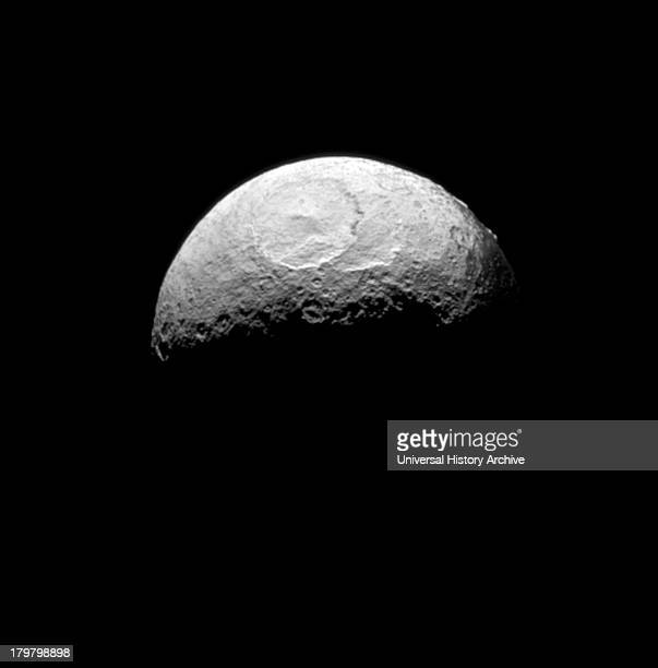 The Cassini spacecraft takes one of its last good looks at Iapetus a Saturnian moon