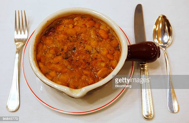 The cassoulet entree is arranged for a photograph at Benoit in New York US on Monday April 28 2008 Alain Ducasse's Benoit isn't just another Midtown...