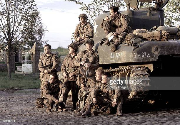 The cast acts in a scene from HBO''s war miniseries 'Band Of Brothers' Phillip Barantini and Ross McCall Scott Grimes Donnie Wahlberg Kirk Acevedo...