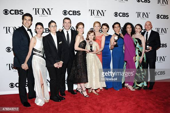 The cast and creative of 'Fun Home' winners of the award for Best Musical including Jeanine Tesori winner of the award for Best Original Score...