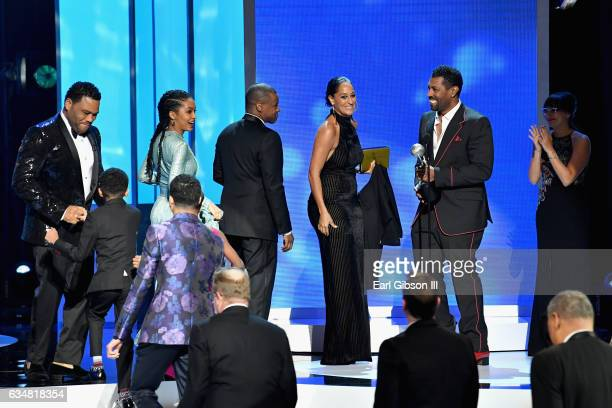The cast and crew of Blackish accept the 2017 NAACP award for Outstanding Comedy Series onstage at the 48th NAACP Image Awards at Pasadena Civic...