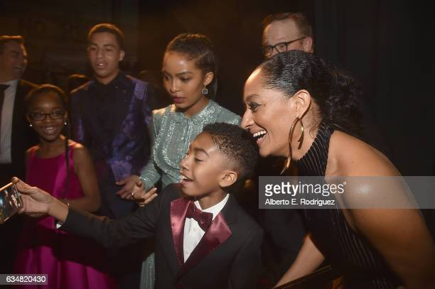 The cast and crew of Blackish take a selfie during the 48th NAACP Image Awards at Pasadena Civic Auditorium on February 11 2017 in Pasadena California