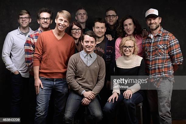 The cast and crew of 'Cooties' pose for a portrait during the 2014 Sundance Film Festival at the WireImage Portrait Studio at the Village At The Lift...