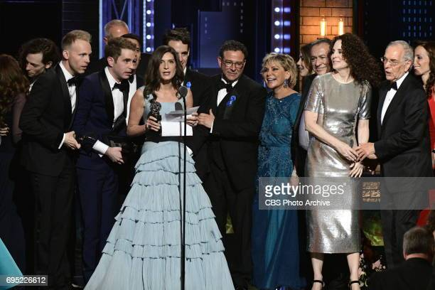 The cast and crew of Dear Evan Hansen winners of Best Musical at THE 71st ANNUAL TONY AWARDS broadcast live from Radio City Music Hall in New York...