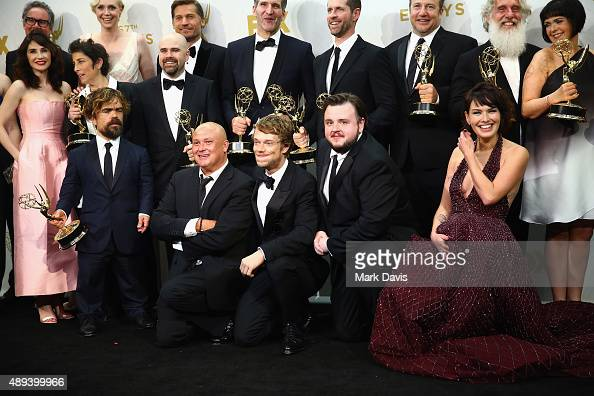 The cast and crew of 'Game of Thrones' winners of the award for Outstanding Drama Series' pose in the press room at the 67th Annual Primetime Emmy...