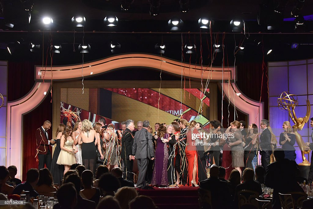 "The cast and crew of ""General Hospital"" celebrate onstage after accepting the Emmy for Outstanding Drama Series for ""General Hospital"" to close the 43rd Annual Daytime Emmy Awards at the Westin Bonaventure Hotel on May 1, 2016 in Los Angeles, California."