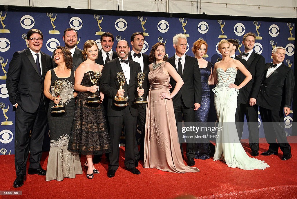 The cast and crew of 'Mad Men' pose with their Emmy for Oustanding Drama Series in the press room at the 61st Primetime Emmy Awards held at the Nokia Theatre on September 20, 2009 in Los Angeles, California.