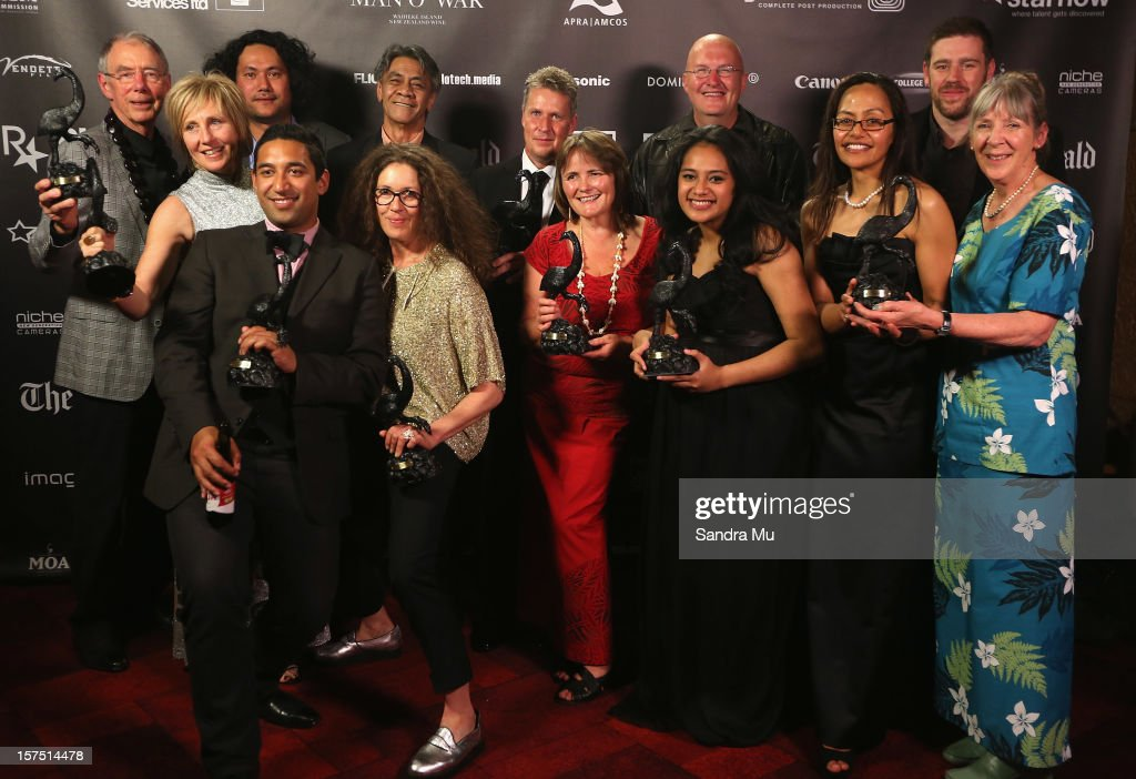 The cast and crew of Orator pose with their awards during the MOA 'Unofficial' New Zealand Film Awards at The Civic on December 4, 2012 in Auckland, New Zealand.