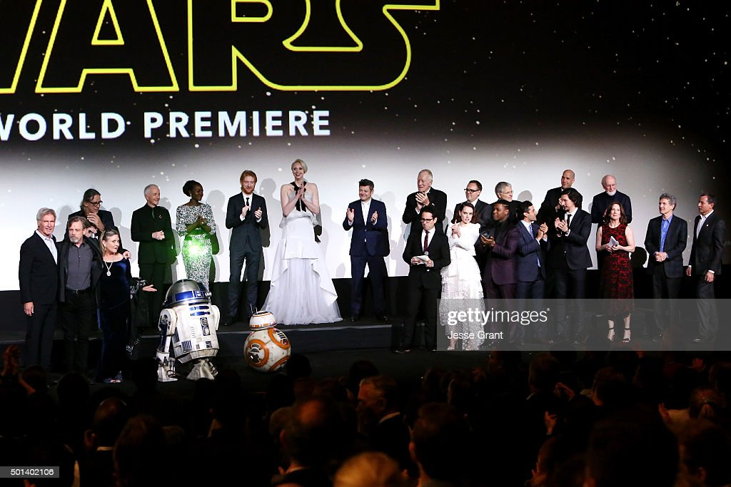 """The cast and crew of Star Wars onstage at the World Premiere of """"Star Wars: The Force Awakens"""" at the Dolby, El Capitan, and TCL Theatres on December 14, 2015 in Hollywood, California."""
