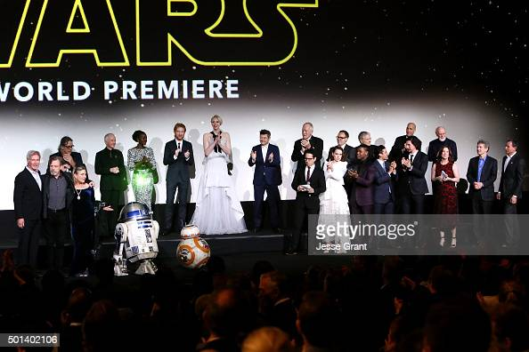 """The cast and crew of Star Wars onstage at the World Premiere of """"Star Wars The Force Awakens"""" at the Dolby El Capitan and TCL Theatres on December 14..."""