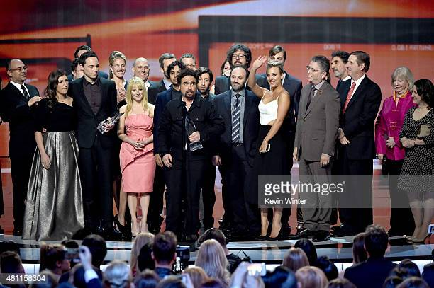 The cast and crew of 'The Big Bang Theory' accept the Favorite TV Show award onstage at The 41st Annual People's Choice Awards at Nokia Theatre LA...