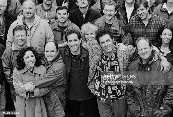 The cast and crew of the hit television show 'Seinfeld' pose on set during the last days of filming the final episode April 3 1998 in Studio City...
