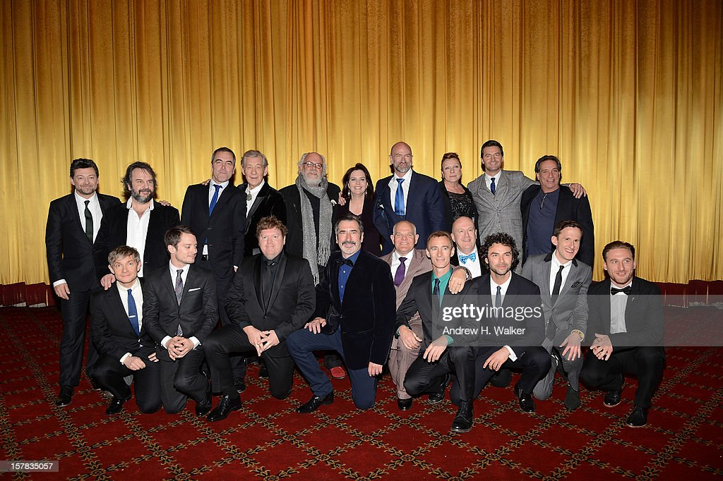 The cast and crew of The Hobbit pose onstage at 'The Hobbit: An Unexpected Journey' New York premiere benefiting AFI at Ziegfeld Theater on December 6, 2012 in New York City.