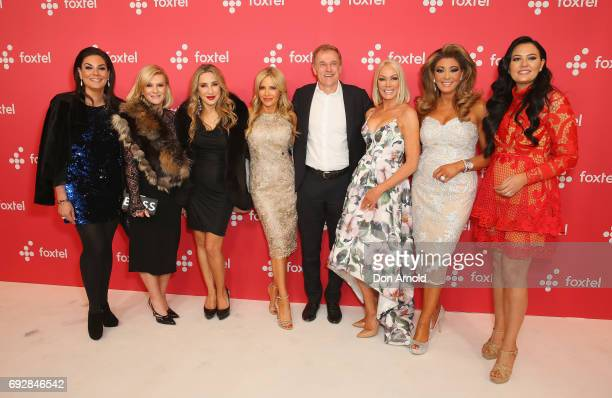 The cast and crew of the Real Housewives of Sydney and Melbourne pose during a Foxtel Event at Hordern Pavilion on June 6 2017 in Sydney Australia