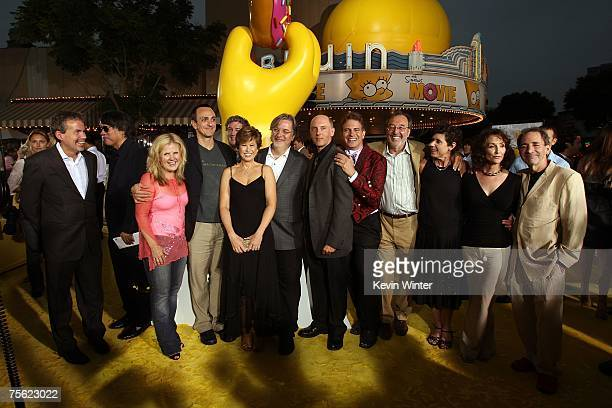 The cast and crew of 'The Simpsons' arrive at the Los Angeles premiere of 20th Century Fox's 'The Simpsons Movie' held at the Mann Village Theaters...