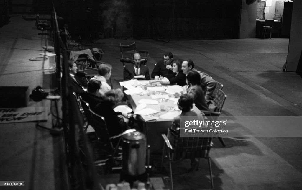 The cast and crew of the The Dick Van Dyke Show conduct a table read of the script on December 2, 1963 in Los Angeles, California.