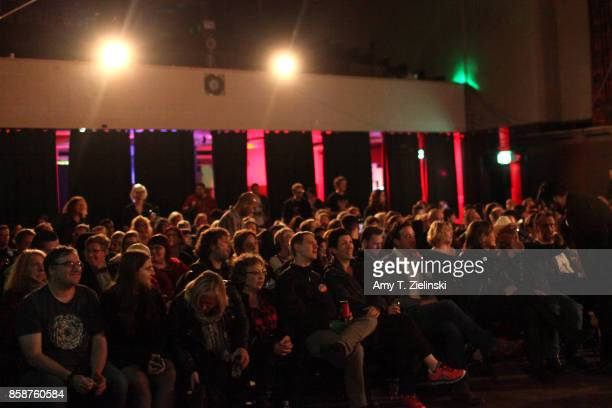 The cast and crew of Twin Peaks sit in the front row during James Marshall's performance at the Twin Peaks UK Festival 2017 at Hornsey Town Hall Arts...