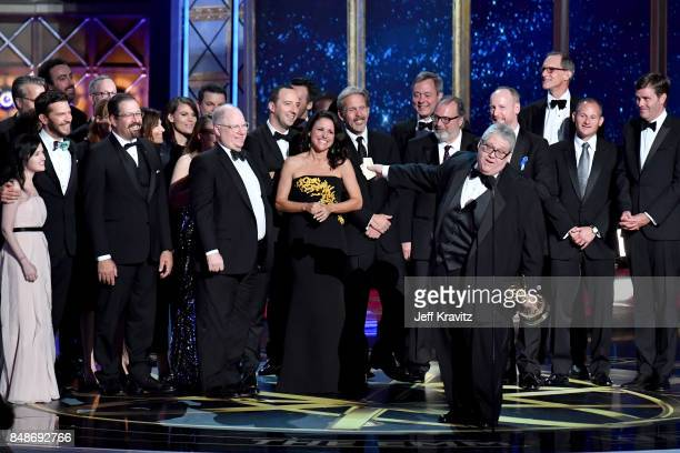 The cast and crew of 'Veep' accept the award for Outstanding Comedy Series onstage during the 69th Annual Primetime Emmy Awards at Microsoft Theater...