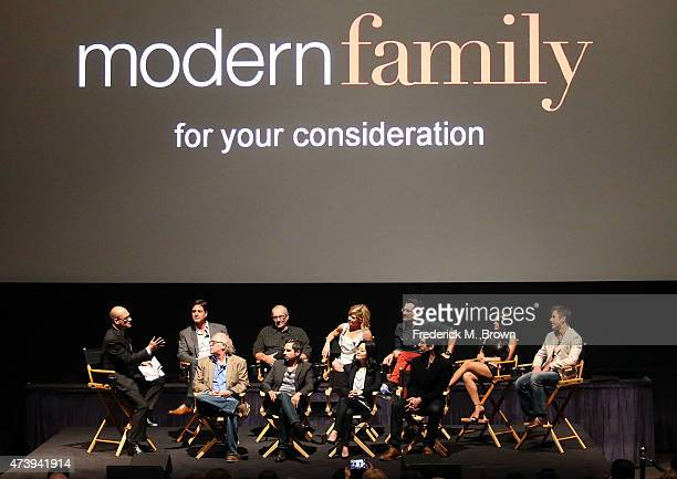 The cast and crew speak during the Q A segment at the ATAS Screening of the 'Modern Family' Season Finale 'American Skyper' at the Fox Studio Lot on...