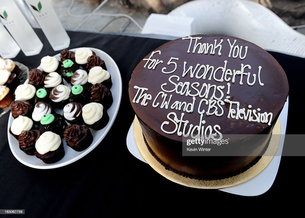 The cast and crews cake is shown at the CW Network's '90210' Season 5 Wrap Party on March 3, 2013 in Los Angeles, California.