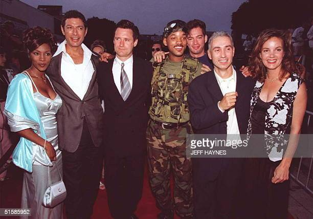 The cast and director of the movie 'Independence Day' Vivica Fox Jeff Goldblum Bill Pullman Will Smith Harry Connick Jr director Roland Emmerich and...