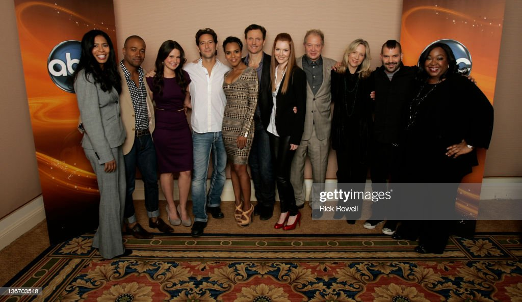 TOUR 2012 - The cast and producers of ABC's 'Scandal' posed for a photo op at Disney/ABC Television Group's Winter Press Tour 2012. JUDY SMITH (CO-EXECUTIVE PRODUCER), COLUMBUS SHORT, KATIE LOWES, HENRY IAN CUSICK, KERRY WASHINGTON, TONY GOLDWYN, DARBY STANCHFIELD, JEFF PERRY, BETSY BEERS (EXECUTIVE PRODUCER), GUILLERMO