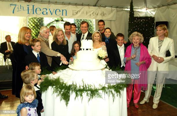 The cast and producers pose at a reception to celebrate 150 episodes of The WB's '7th Heaven' on February 20 2003 in Los Angeles California