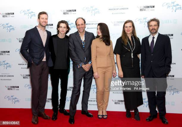 The cast and production team of the film Call Me By Your Name attend the premiere of Call Me By My Name as part of the BFI London Film Festival at...