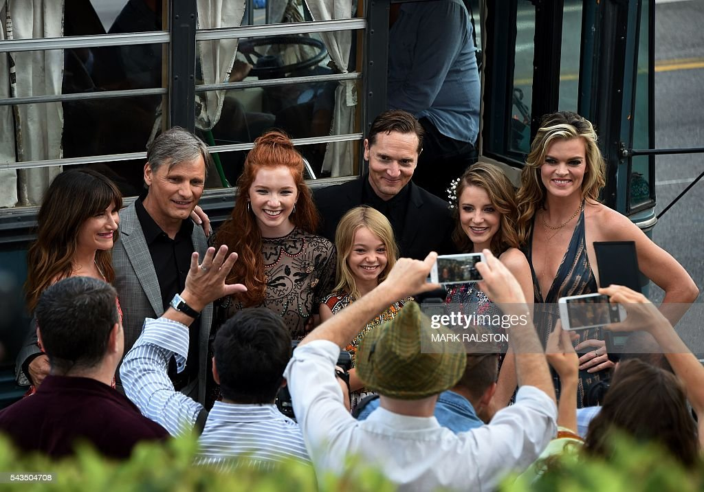 The cast arrives for the premiere of 'Captain Fantastic' at the Harmony Gold in Los Angeles, California on June 28, 2016. / AFP / Mark Ralston