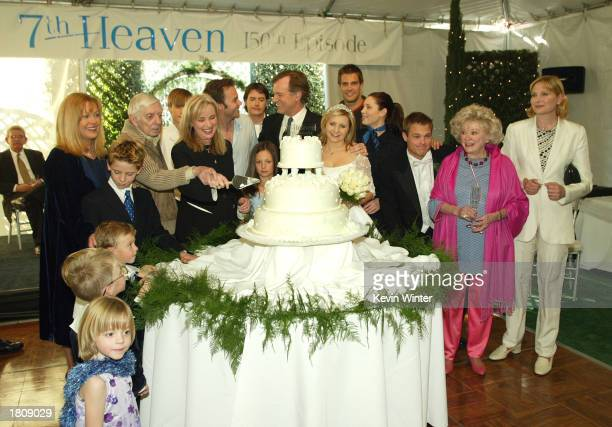 The cast at a reception to celebrate 150 episodes of The WB's '7th Heaven' on February 20 2003 in Los Angeles California