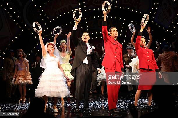 The cast bows at the curtain call during the press night performance of 'Guys And Dolls' at The Phoenix Theatre on April 14 2016 in London England