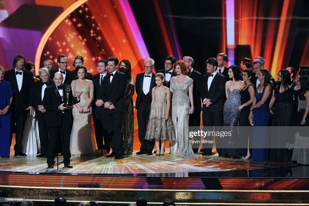 The cast & crew of 'Mad Men' accept the Outstanding Drama Series award onstage during the 63rd Annual Primetime Emmy Awards held at Nokia Theatre L.A. LIVE on September 18, 2011 in Los Angeles, California.