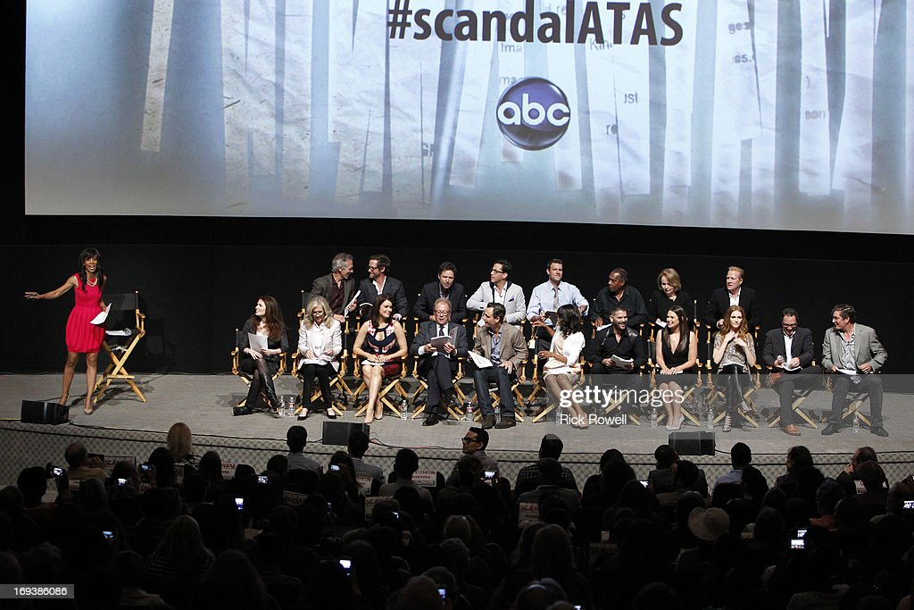 SCANDAL - The cast, guest stars and executive producers of 'Scandal' attended 'An Evening with Scandal' at The Academy of Television Arts & Sciences for their season finale table read and Q&A on Thursday, May 16, 2013. , BETSY BEERS (EXECUTIVE PRODUCER), BELLAMY YOUNG, JEFF PERRY, TONY GOLDWYN, KERRY WASHINGTON, GUILLERMO DIAZ, KATIE LOWES, DARBY STANCHFIELD, JOSHUA MALINA, MARK WILDING