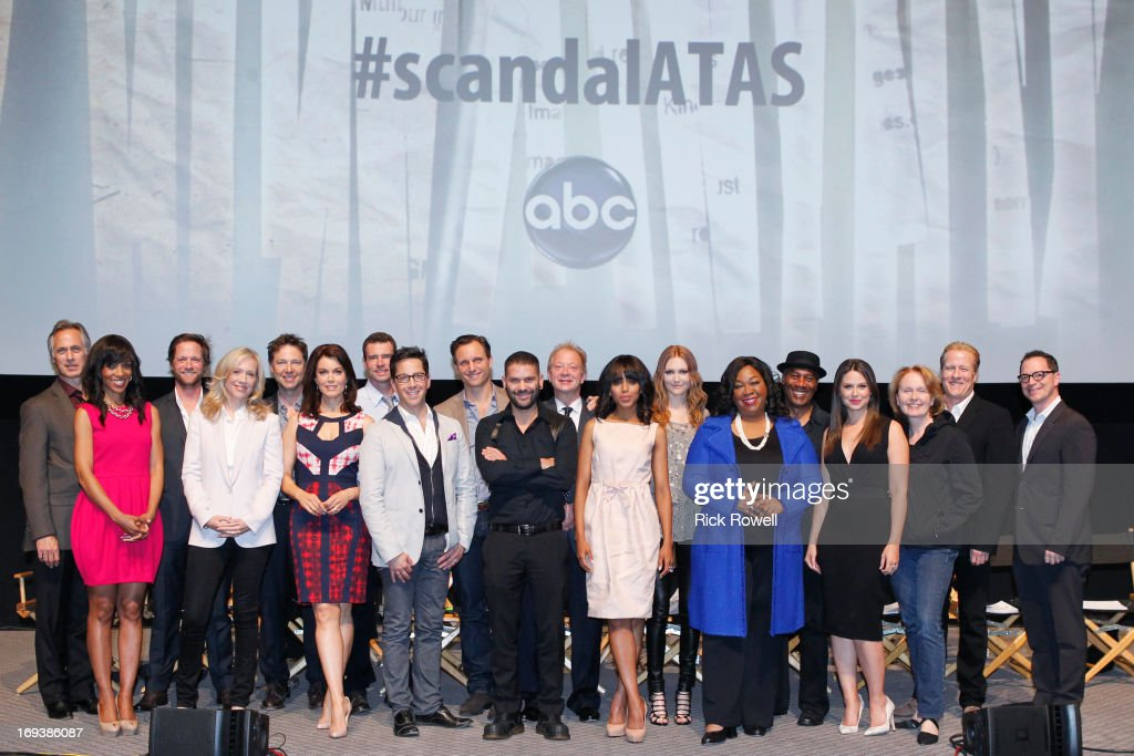 SCANDAL - The cast, guest stars and executive producers of 'Scandal' attended 'An Evening with Scandal' at The Academy of Television Arts & Sciences for their season finale table read and Q&A on Thursday, May 16, 2013. , GEORGE NEWBERN, BELLAMY YOUNG, SCOTT FOLEY, DAN BUCATINSKY, TONY GOLDWYN, GUILLERMO DIAZ, JEFF PERRY, KERRY WASHINGTON, DARBY STANCHFIELD, SHONDA RHIMES (CREATOR/EXECUTIVE PRODUCER), JOE